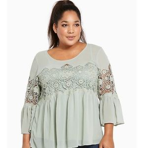 Torrid Glen Green Crochet Lace Top